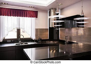Brown worktop in elegant kitchen