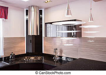 Brown worktop in luxury kitchen