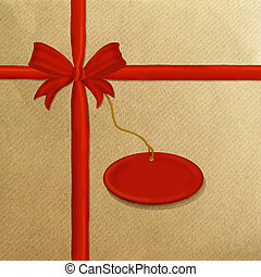 Brown wrapping paper red ribbon - Brown wrapping paper with...