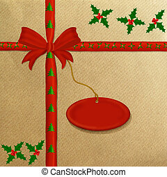 Brown wrapping paper red ribbon - Brown wrapping paper with ...