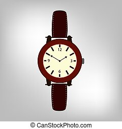 Brown Wristwatch Isolated on a Grey Background.