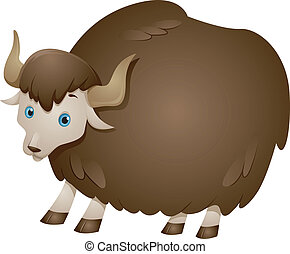 Brown Yak - Illustration of a Yak with a Thick Wooly Coat