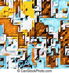 brown yellow and blue drawing abstract background