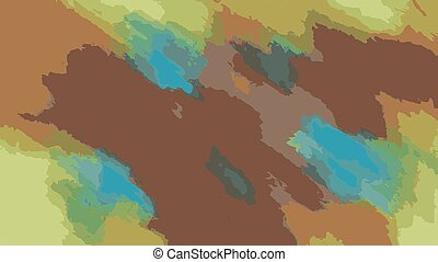 brown yellow blue painting abstract