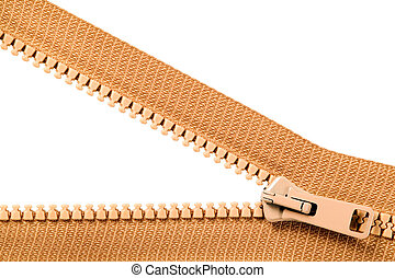 Brown zip with metal teeth, unzipped, clothing industry
