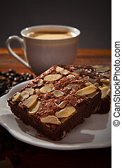 brownie cake and hot coffee