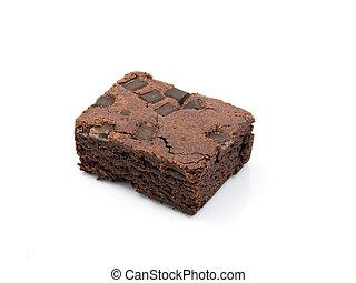 Chocolate chip brownie on white