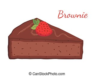 Brownie, chocolate pie, cupcake, pastry. Cartoon flat style. Vector