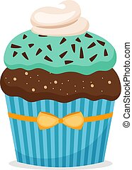 Brownie cupcake with blue frosting - Chocolate muffin or...