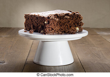 brownie on a cake stand