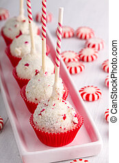 Brownie Peppermint Cake Pops - Row of peppermint brownie...