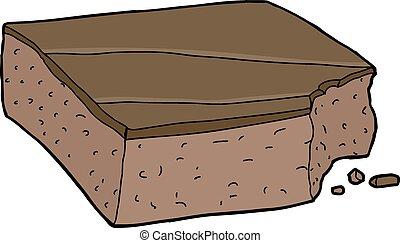 Brownie with Bite Mark - Isolated cartoon slice of chocolate...