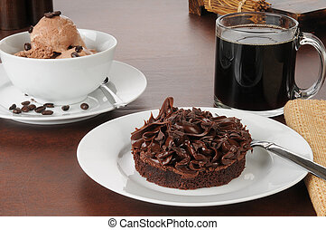Brownie with coffee flavored ice cream