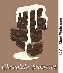 brownies and cream - a vector illustration in eps 8 format...