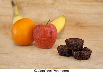 Brownies and fruit