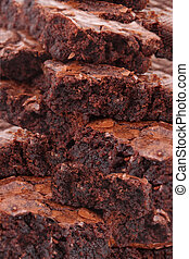 Brownies - Close up of pile of chocolate fudge brownies