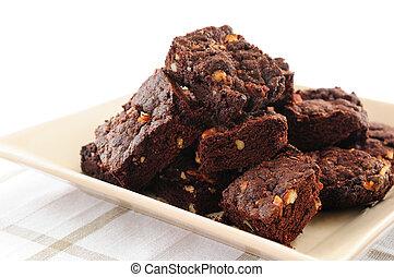Brownies dessert - Homemade chocolate brownies served on a...
