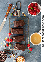 Brownies on a cooling rack - Freshly baked homemade brownies...