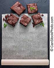brownies on baking paper (top view)