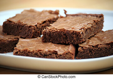 Brownies - Chocolate Brownies on a White Platter