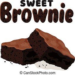 brownies, vecteur, chocolat