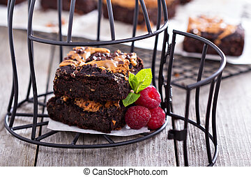 Brownies with peanut butter in a cage