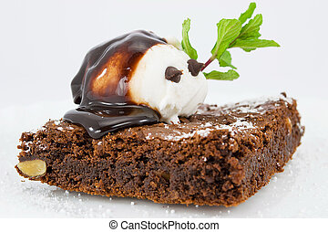 Brownies with vanilla ice cream