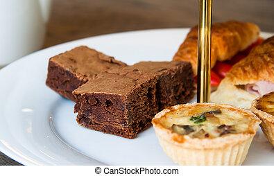 brownies, y, panadería, blanco, placa