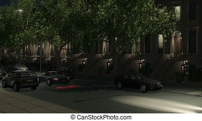 Brownstone building and cars at night loop 4K