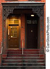 Typical brownstone in Greenwich village famous Manhattan neighborhood