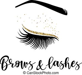 Brows and lashes logo. Vector illustration of lashes and brow. For beauty salon, lash extensions maker, brow master.