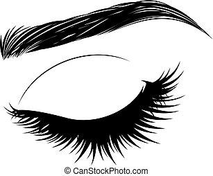 brows, eyelashes, oog gesloten, lang
