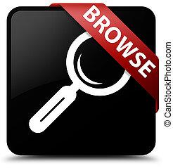 Browse black square button red ribbon in corner