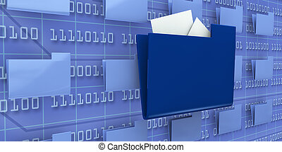 several pc folders with one in evidence and a background wall with binary code (3d render)