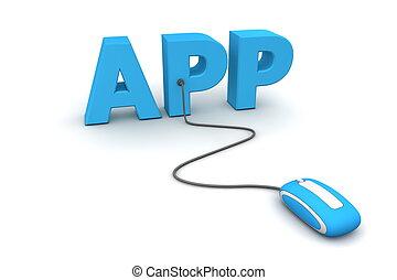 browse, den, app, -, blå, mus