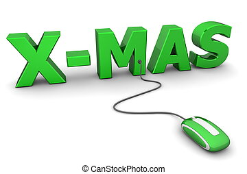 modern green computer mouse connected to the green word X-Mas - Christmas