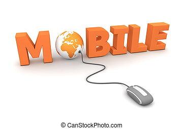 Browse Mobile - Orange - modern grey computer mouse...