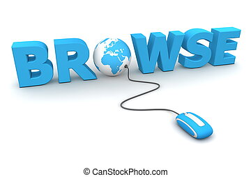 browse, omkring, -, blå, mus