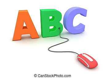 modern red computer mouse connected to the colourful letters ABC