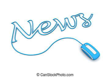 Browse the Blue News Cable - modern blue computer mouse is...