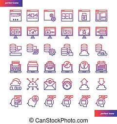 Browser and Interface gradient icons set