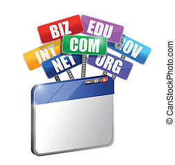 browser, begriff, domains., internet