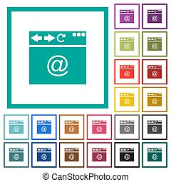 Browser email flat color icons with quadrant frames