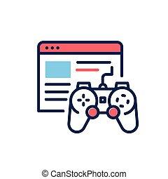 Browser Games - modern single vector line design icon.