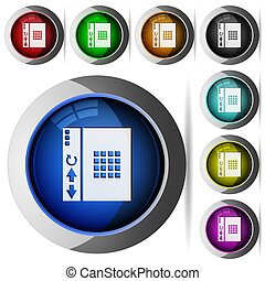 Browser homescreen icons in round glossy buttons with steel frames in several colors