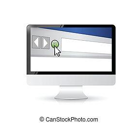 browser internet, finestra, su, uno, computer, screen.