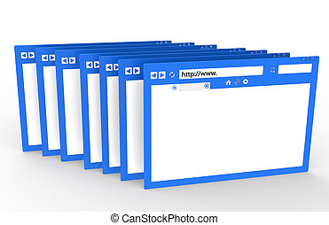 Browser - Row of Browsers. Blue with ground reflection