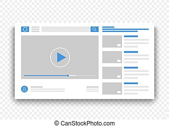 Browser video player blue interface window. Online movie on web site concept vector illustration.