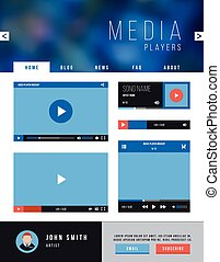 Browser web site page with video player ui interface and navigation. Vector template