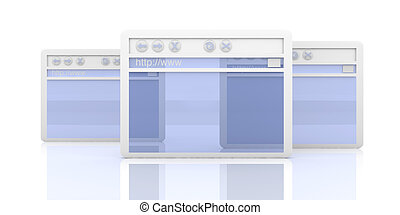 Browser Window - 3D Illustration. A symbolic Browser Window....
